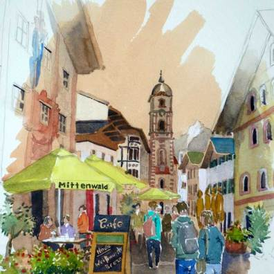 Cafe Scene, Mittenwald, Germany, $395' Sold