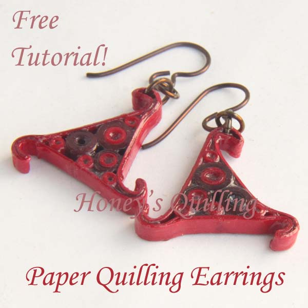 red whirl paper quilling earrings tutorial - Honey's Quilling