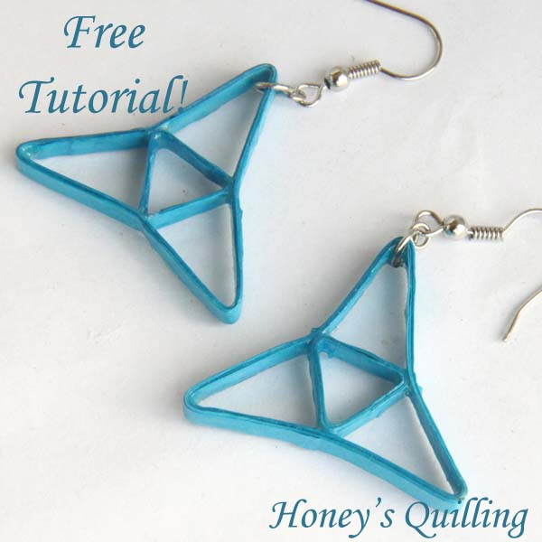 blue tri point paper quilling earrings tutorial - Honey's Quilling