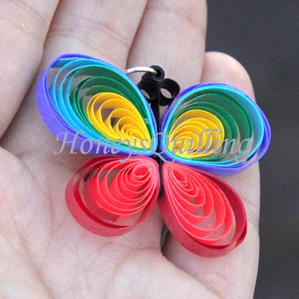 paper quilling rainbow butterfly tutorial - Honey's Quilling