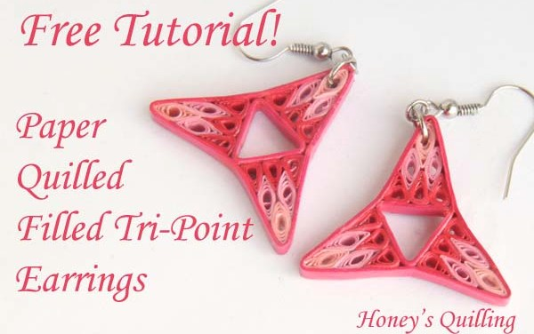 Pink Tri Point Filled Paper Quilling Earrings Tutorial