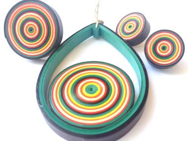 Tutorial for retro bullseye pendant and earrings set - by Erin Curet of Little Circles