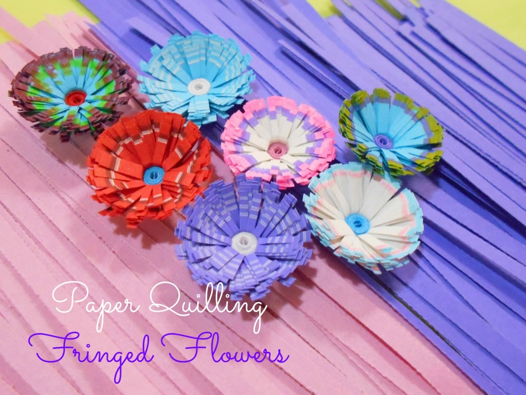 tutorial for paper quilling colorful fringed flowers