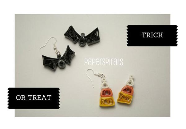 paper quilled halloween earrings tutorial