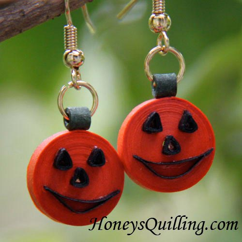 tutorial for paper quilling pumpkin jack o' lantern earrings