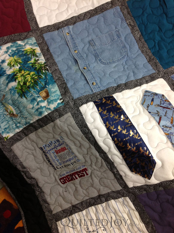 Memorial Quilt Using Ties And Shirts