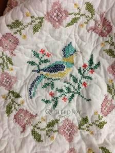 Birds hand stitched quilt