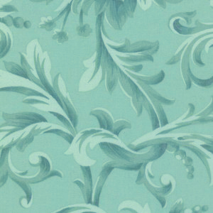 Love and Liberty in Mint was designed by Robyn Pandolph for RJR Fabrics. This 100% cotton fabric features an elegant flourish of flowers and leaves. Available at QuiltedJoy.com