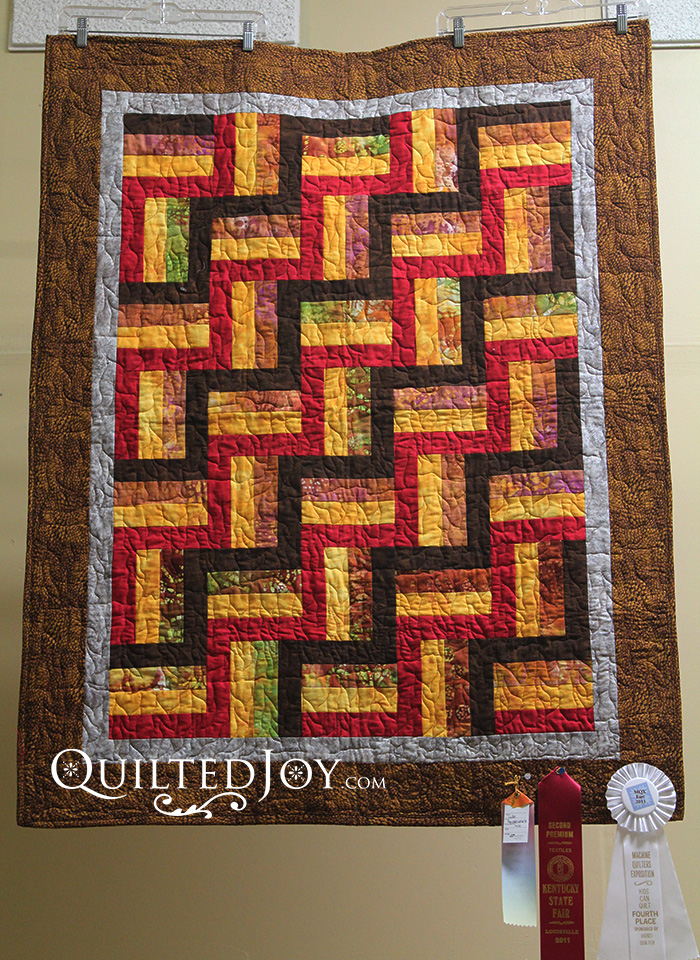 Playing with Fire quilt hanging in the Quilted Joy Showroom