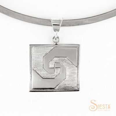 Medium snail's trail block sterling silver pendant by Siesta Silver Jewelry. Available at QuiltedJoy.com