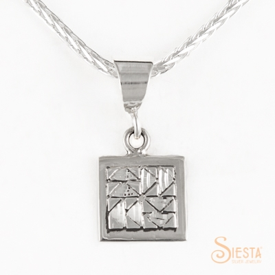 Mini Dutchman's puzzle sterling silver pendant by Siesta Silver Jewelry. Available at QuiltedJoy.com