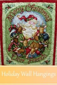 Barbara brought in holiday themed wall hangings for Angela to quilt. With all the holiday fabrics out there, these are a fun way to brighten up your home. QuiltedJoy.com