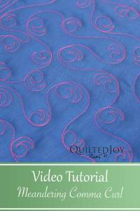 Video Tutorial for the Meandering Comma Curl free motion quilting design