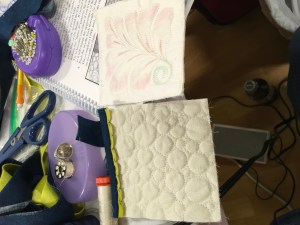 A students finished samples from the Devil is in the Details class taught by Bethanne Nemesh at Quilted Joy