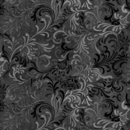 "Flourish in Black is a 108"" wide back fabric from South Sea Imports. A beautiful tonal fabric with a classic flourishing print. 100% cotton. Available at QuiltedJoy.com"