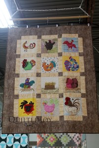 Beth's Sparkly Chicken Quilt on display at Quilted Joy