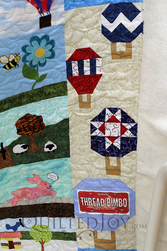 Bonnie quilted her 2017 row by row quilt! She even included Quilted Joy's row!