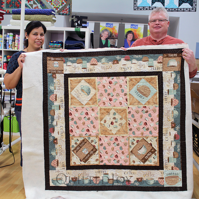 Zen custom quilted this fun Coffee themed quilt!