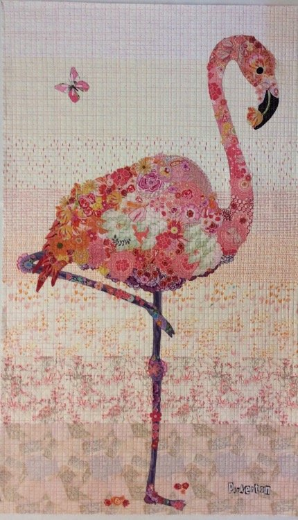 Pinkerton Flamingo Fabric Collage Quilt by Laura Heine