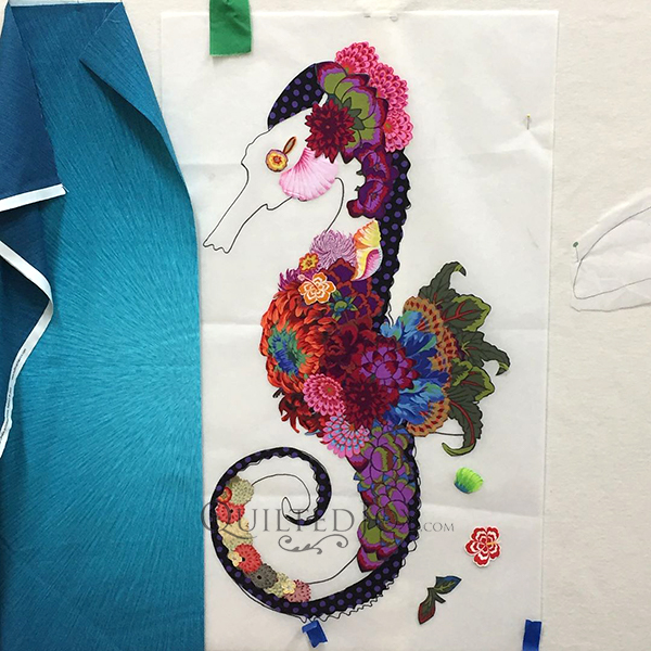 Ebba Seahorse, a Laura Heine Fabric Collage Quilt