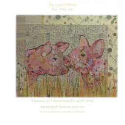 Lola and Olive Pigs Fabric Collage Quilt Pattern by Laura Heine