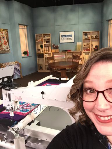 Angela Huffman on the set of Fons & Porter's Love of Quilting