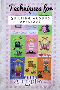 Techniques for Quilting Around Applique, QuiltedJoy.com, Paper Dolls Quilt with machine quilting by Angela Huffman