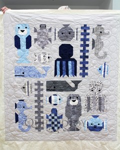 Awesome Ocean quilt, quilted at Quilted Joy, using the bubbles design board