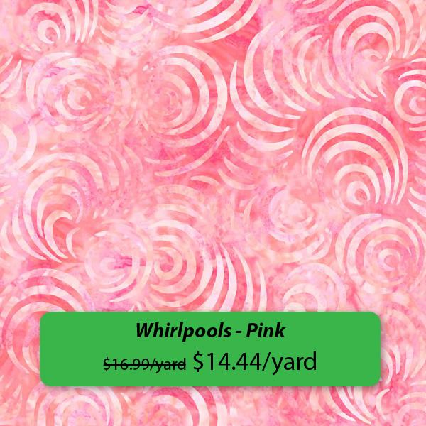 """Whirlpools - Pink $16.99/yard, on sale for $14.44/yard"""