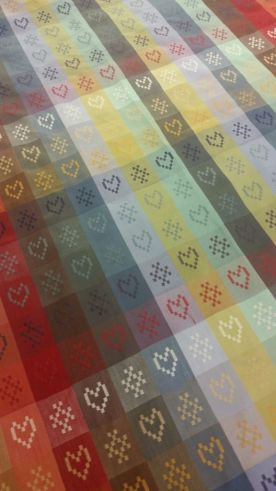 Hearts sampler - Folkore fabric