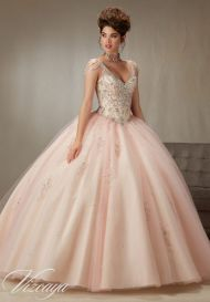 pink mint quinceanera dress