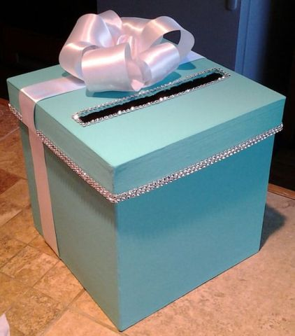 Wedding Shower Gift Card Box : tiffany blue cardbox 2