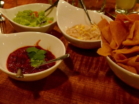 corn chips and salsa, cashew cream and guacamole