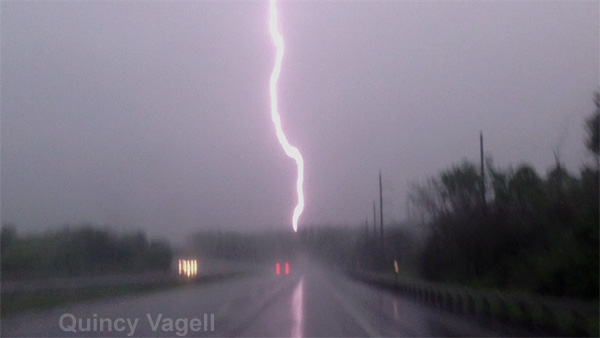 A lighting strike from a storm that was dropping an EF-2 tornado in upstate New York in May 2013.