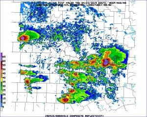 Model forecast radar for 7 p.m. local time.