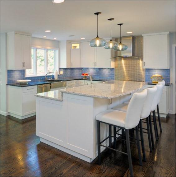 Marble Island Dual Height Kitchen Island Quinju.com