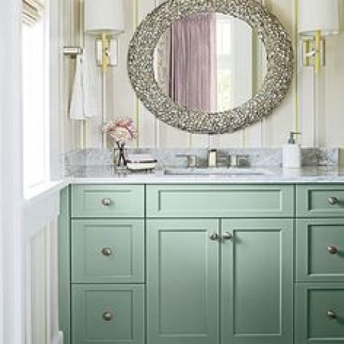 powder room makeover-painted vanity-quinju.com
