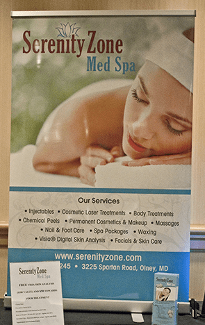 retractable banner for Serenity Zone Med Spa