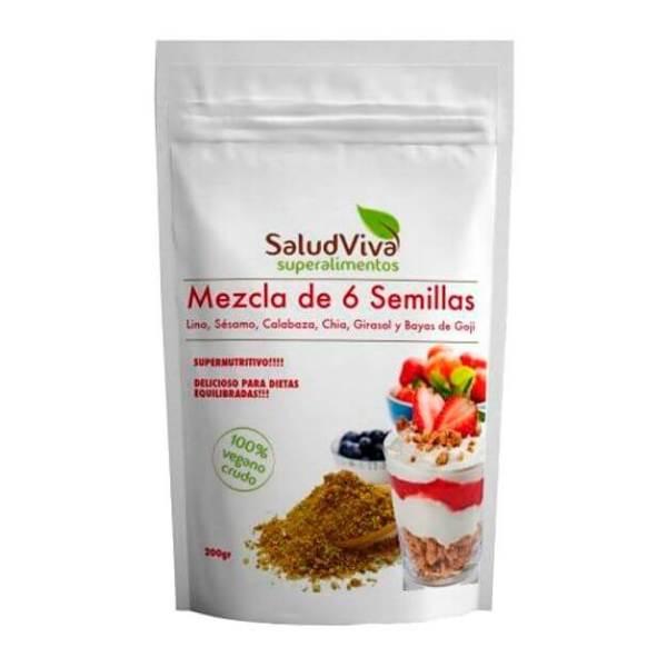 Mezcla 6 semillas: linaza, calabaza, girasol, sésamo, bayas de Goji, chía y maíz. Plenitud de ácidos grasos esenciales, minerales y vitaminas. 200 gramos. De Salud Viva.