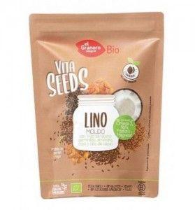 Semillas de lino molido, trigo sarraceno, almendras y nibs de coco. El Granero Integral. 200 gramos. Ecológico. Sin gluten y sin azúcares añadidos.