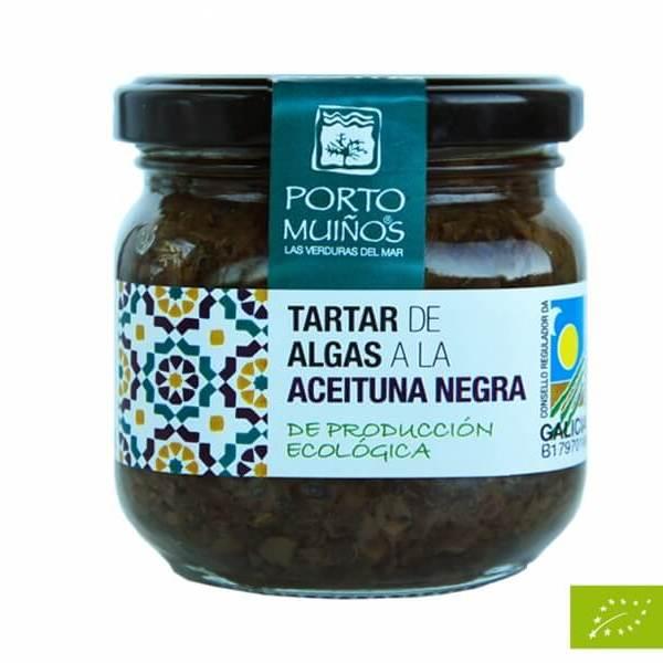 Tartar de algas a la aceituna negra, de Porto Muiños. 160 gramos. Procedente de agricultura ecológica.