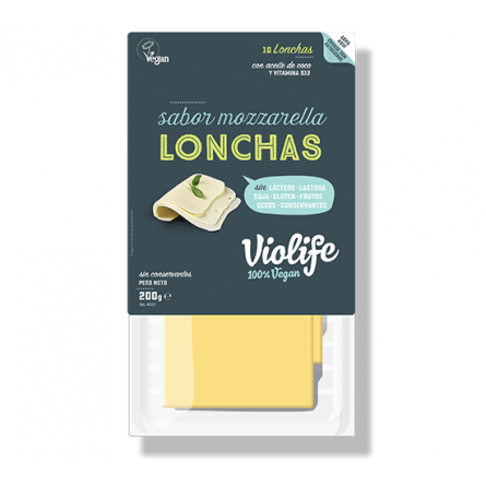 Queso mozzarella vegano en lonchas Violife 200 gramos