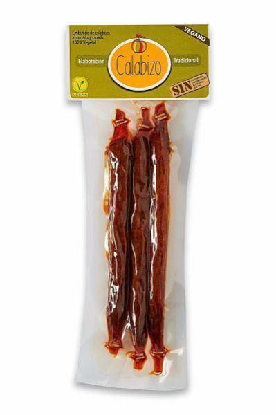 Calabizo chorizo vegano de calabaza. Elaborado con receta tradicional 100% vegetal y fabricado en Galicia. 3 unidades, 120 gramos.