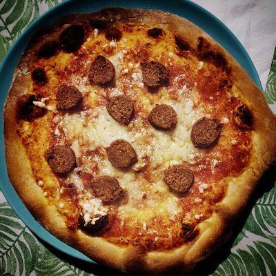 pizza con chorizo vegano