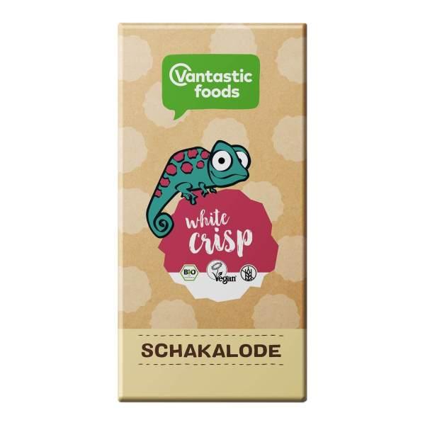 Schakalode White Crisp de Vantastic Foods. Una deliciosa chocolatina vegana de chocolate blanco con coco. Orgánica, sin crueldad y una auténtica maravilla gordivegan. 80 gramos.