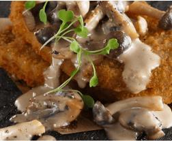escalopes veganos rebozados cocinados