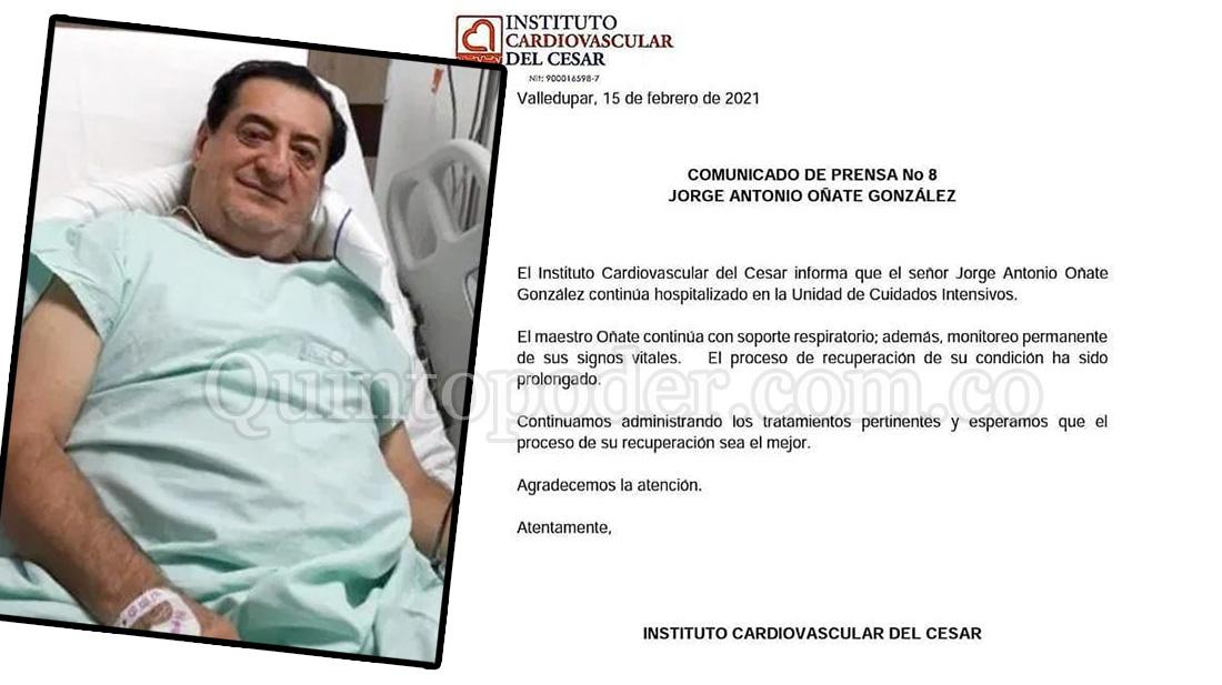 Jorge Oñate completará un mes hospitalizado y aún sigue delicado