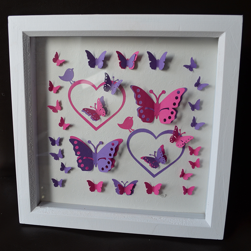Framed 3D Butterflies And Hearts Papercut Art Quire Creative