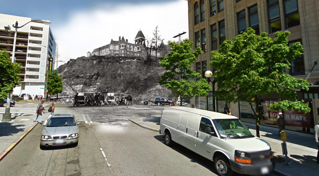"""""""Denny Hill as seen from 2nd and Pine, with the soon-to-be destroyed Denny Hotel. The hill was slightly more to the right, but I had trouble lining up the shot."""""""