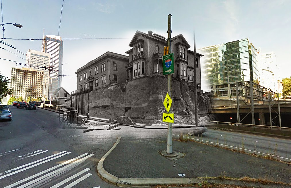 """A before and after [of the regrade] at 6th and Marion with buildings from 1914."" (Courtesy of Clayton Kauzlaric)"